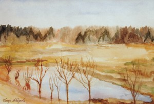 Watercolor landscape Spring