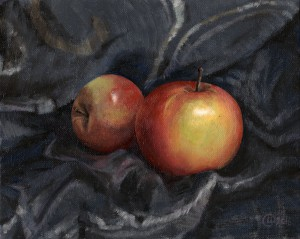 Oil stil life Sweet apples