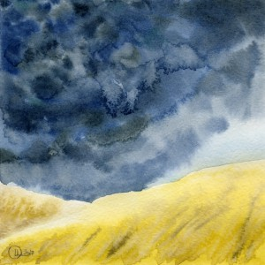 landscape watercolor Before rain