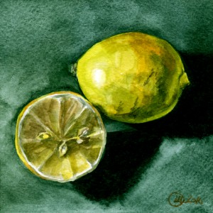 still life Watercolor lemons