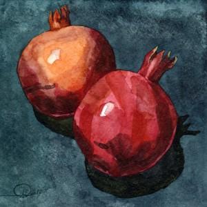 still life Watercolor pomengranates Гранаты