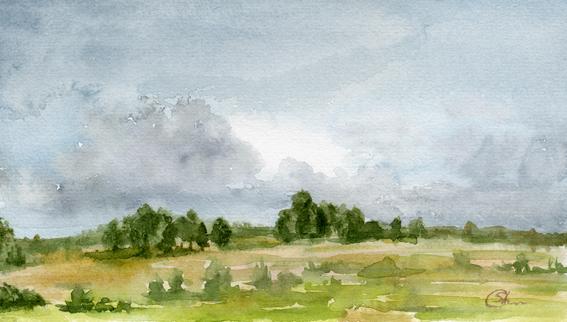 landscape watercolor Акварель Пейзаж Июнь