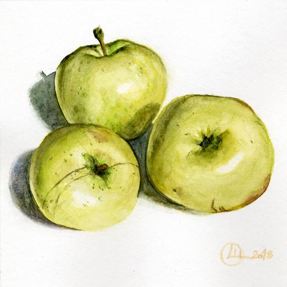 Watercolor Акварель Apples